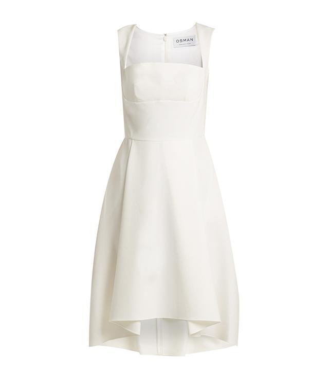 Doris flared-hem crepe dress