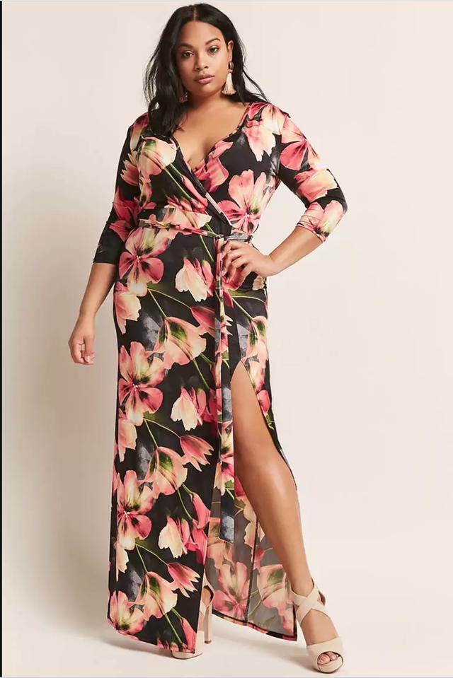 Forever 21 Floral Surplice Maxi Dress