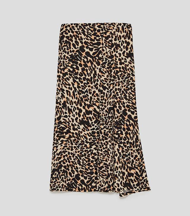 Zara Animal Print Midi Skirt