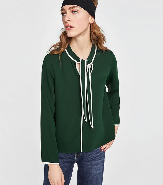 Zara Piped Blouse with Bow