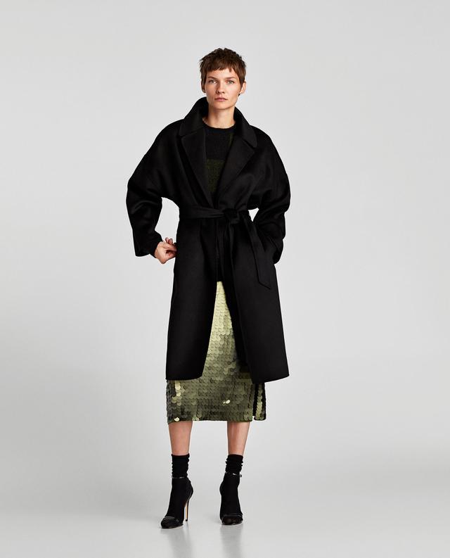 Zara Long Coat With Belt