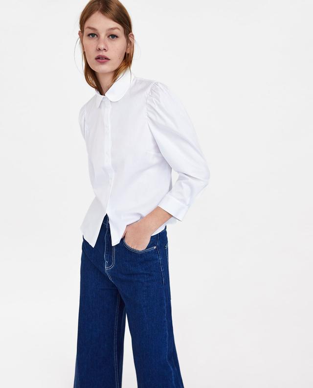 Zara Poplin Blouse With Voluminous Sleeves
