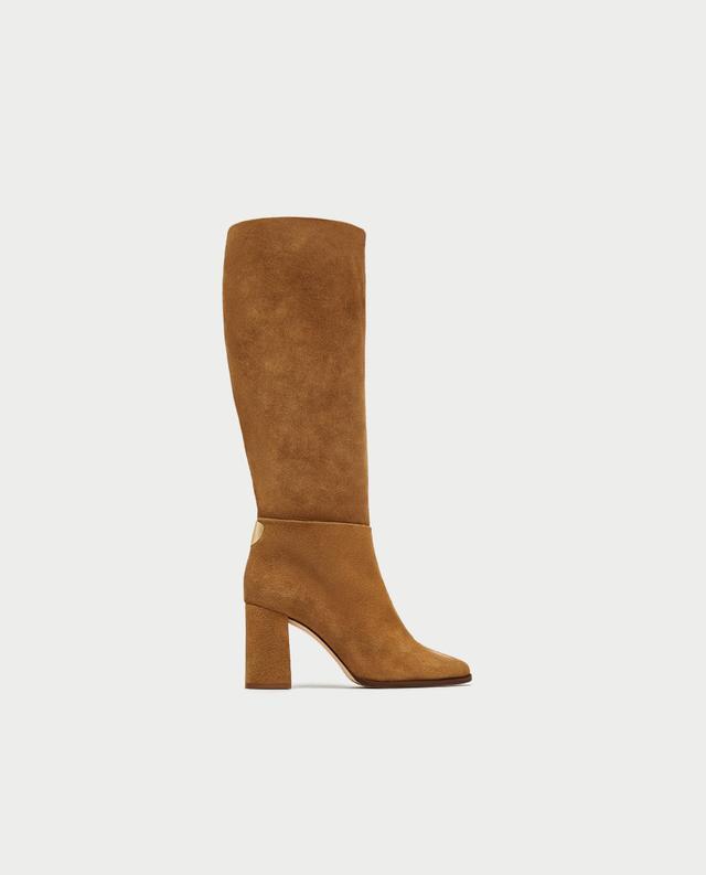 Zara Split Suede High Heel Boots