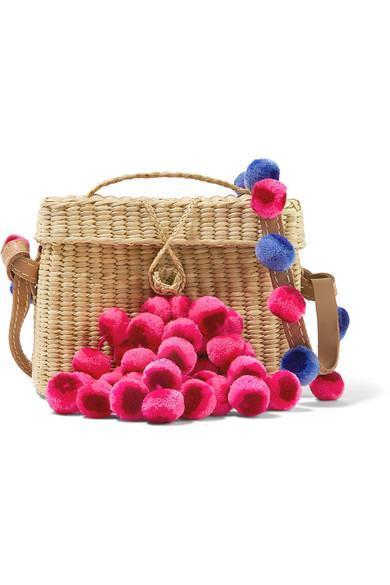Nannacay Roge Pompom-Embellished Leather-Trimmed Woven Raffia Shoulder Bag