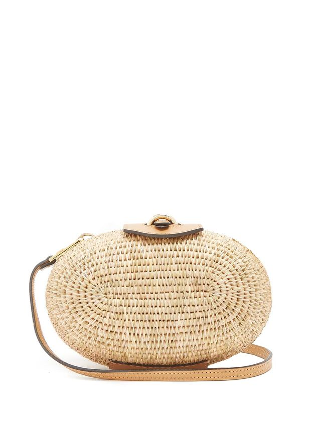 Khokho Lindi Minaudière Leather-Trimmed Basket Bag