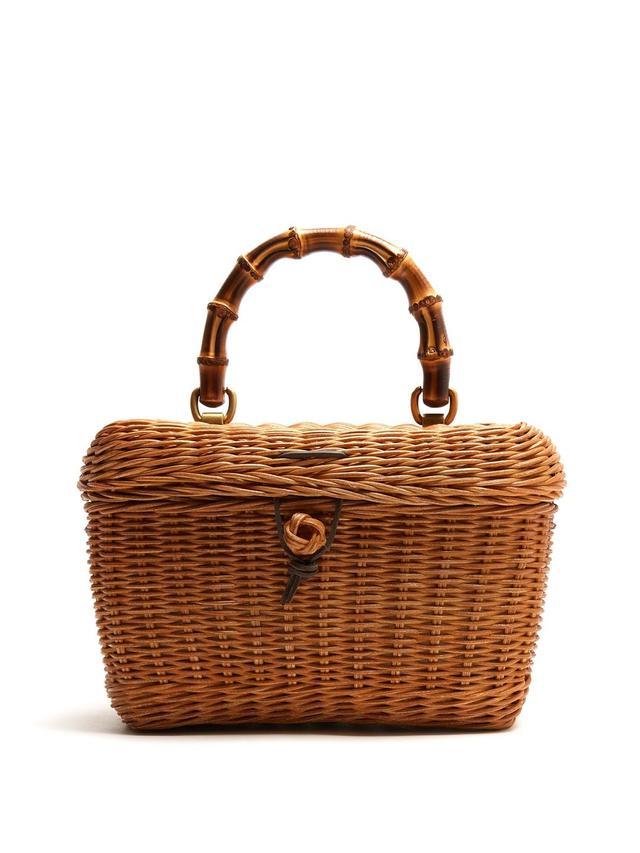 Gucci Cestino Bamboo-Handle Wooden Basket Bag