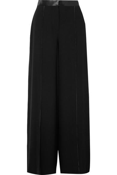 Yuli Satin-trimmed Crepe Wide-leg Pants