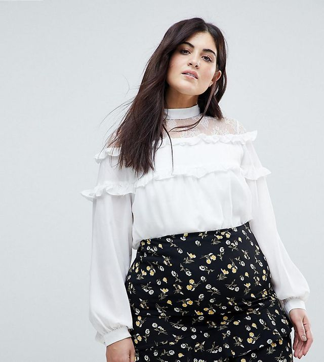 High Neck Blouse With High Neck And Ruffle Detail