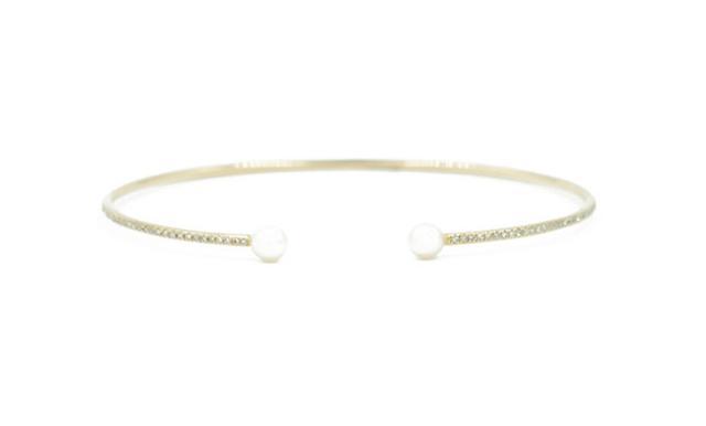 Andrea Groussman 14KT Yellow Gold Diamond Pave Pearl Cuff