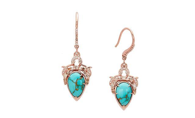 Anna Sheffield Celestine Pear Earrings in Rose Gold & Turquoise