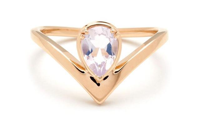 Anna Sheffield Celestine Orbit Ring in Yellow Gold & Lavender Moon Quartz
