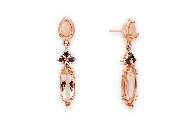Anna Sheffield Eleonore Marquise Stud Earrings in Rose Gold & Peach Morganite