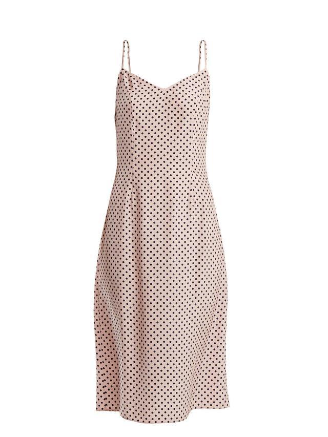 HVN Lily Polka-Dot Print Silk Slip Dress