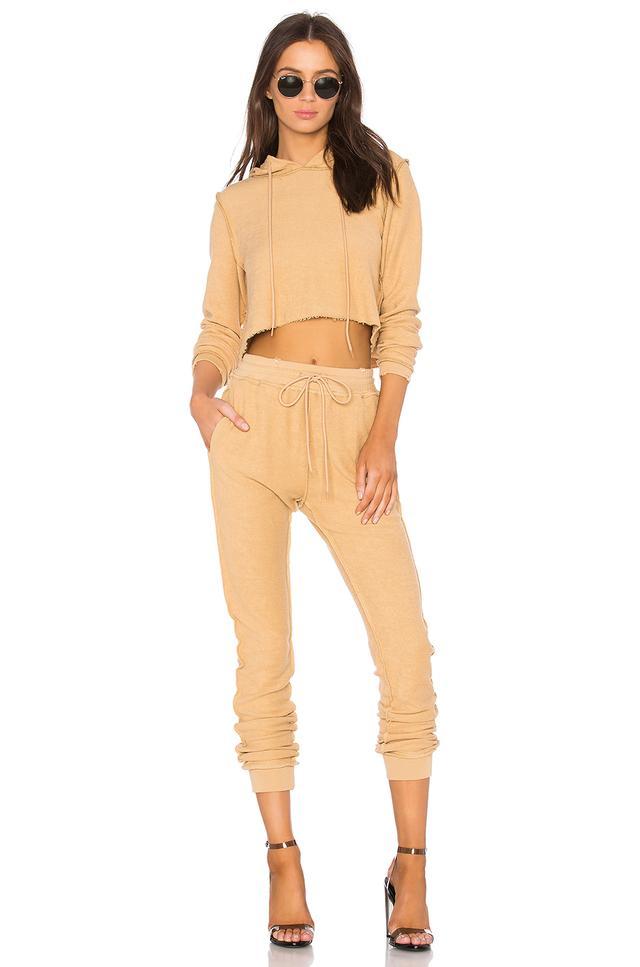 Danielle Guizio DG Sweatsuit in Camel Khaki