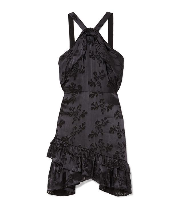 Faye Ruffled Satin-jacquard Mini Dress