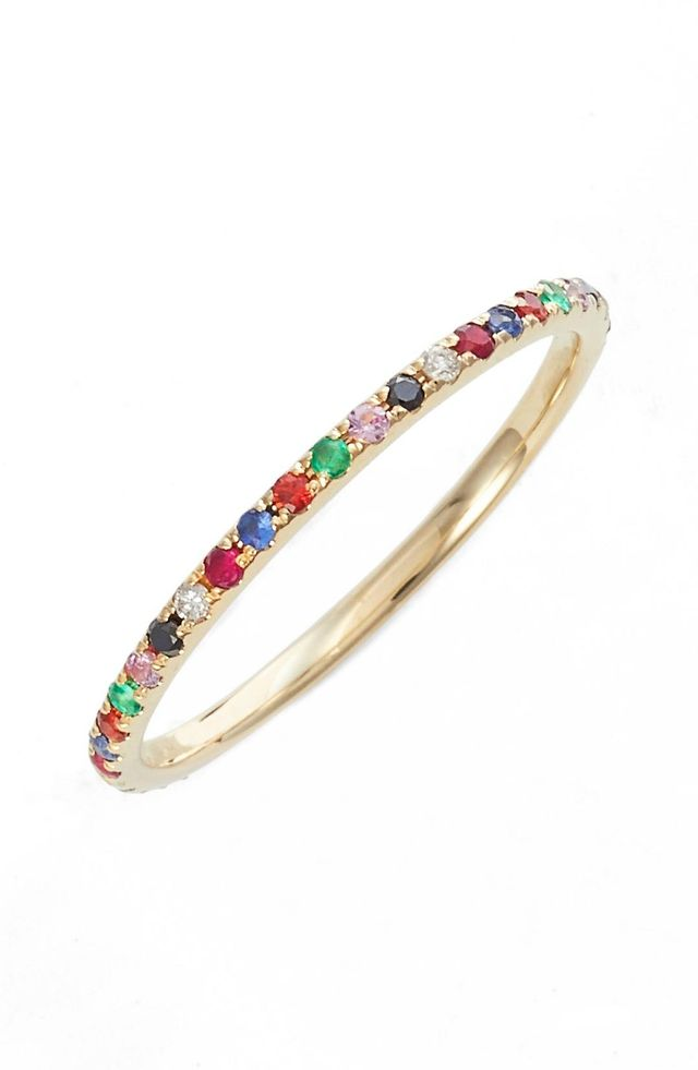 Women's Ef Collection Rainbow Precious Gem Stack Ring