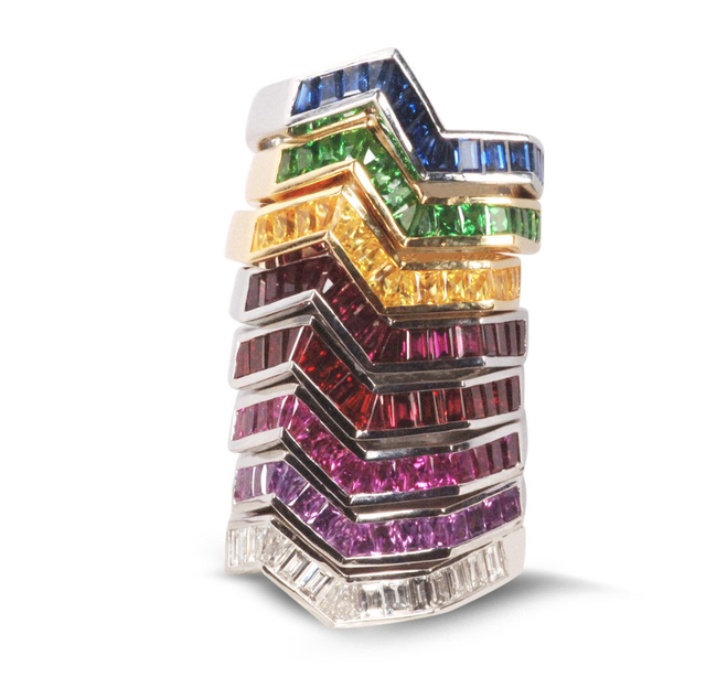 Kavant & Sharart Origami Ziggy Colored Stack Rings