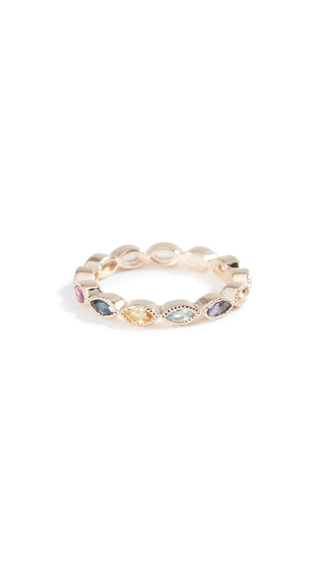14k Gold Marquise Eternity Candy Band Color Stones Ring