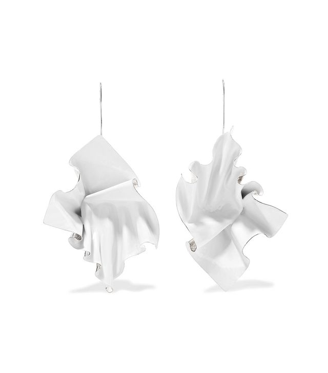 Closer By Wwake Suspended Enameled Sterling Silver Earrings