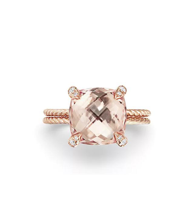 David Yurman Chatelaine® Ring With Morganite And Diamonds In 18K Rose