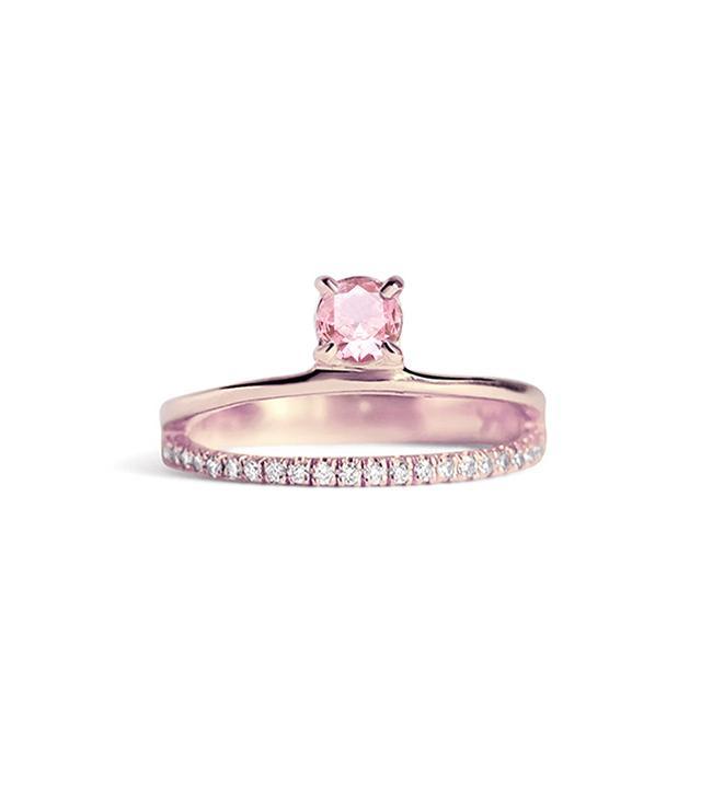 KATKIM Floating Pink Sapphire Pavé Ring