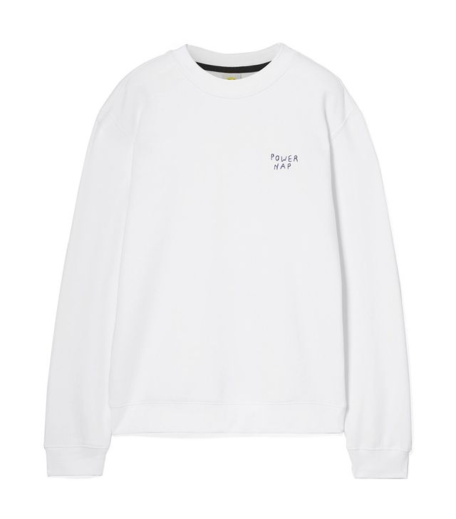 Power Nap Oversized Embroidered Cotton Blend-jersey Sweatshirt
