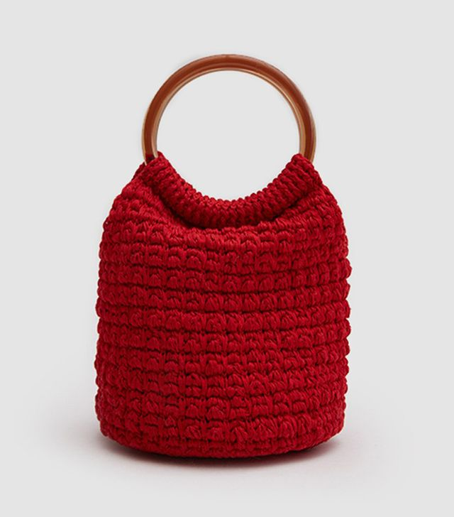 Praia Hand Crochet Bucket in Red