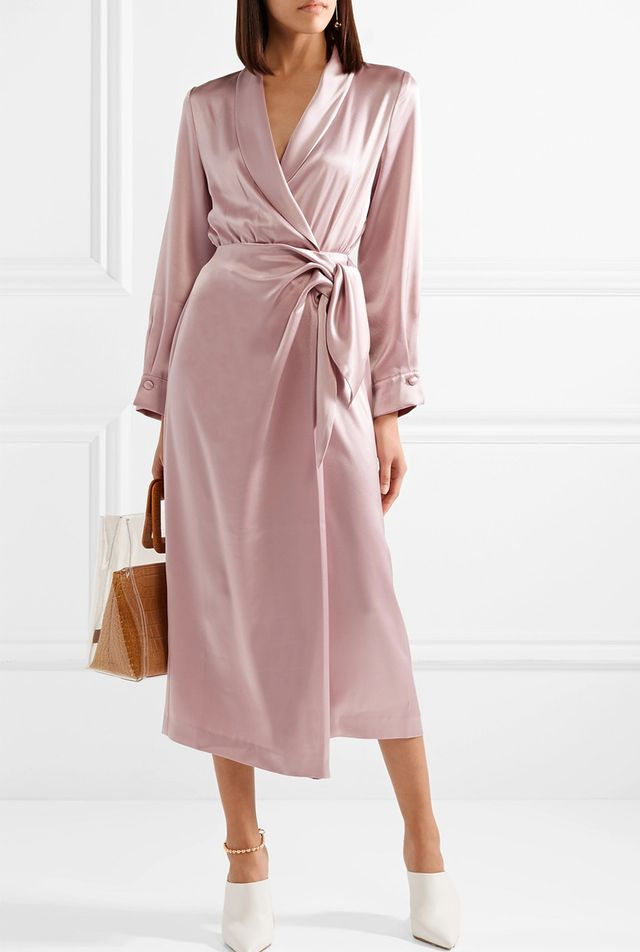 Ezra Satin Wrap Midi Dress
