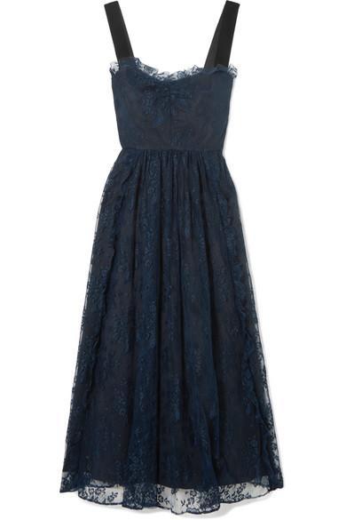 Gathered Velvet-trimmed Chantilly Lace Midi Dress
