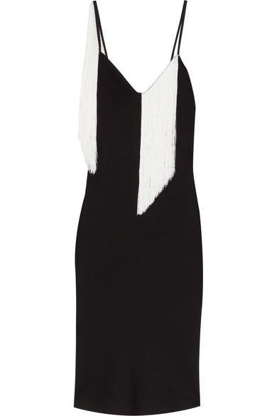 Fandango Fringed Satin-crepe Midi Dress