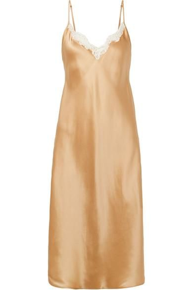 Sequoia Lace-trimmed Silk-satin Slip Dress