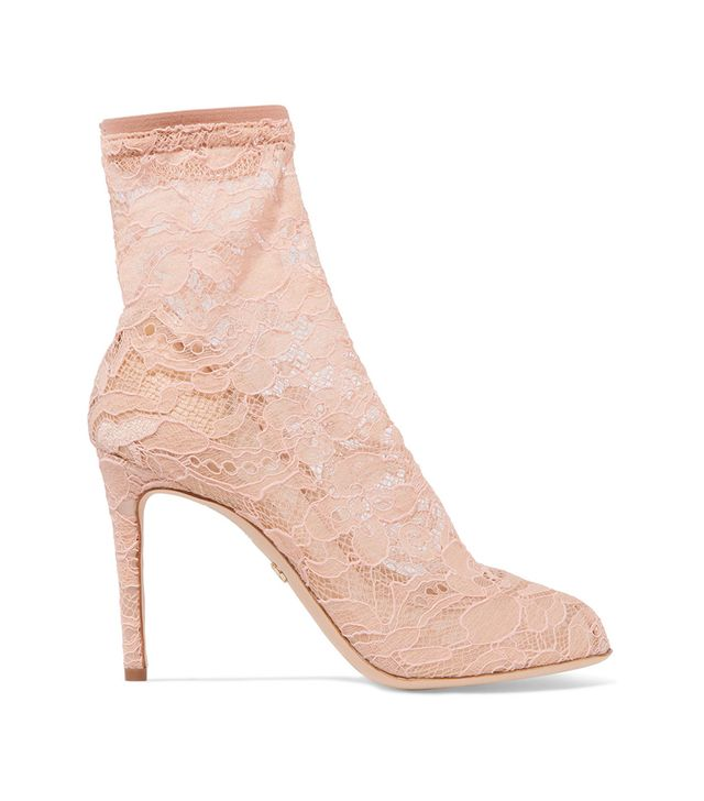 Stretch-lace And Tulle Sock Boots