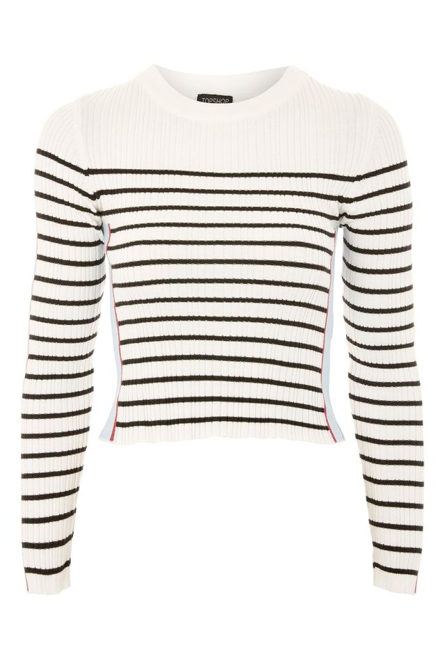 Side Striped Sleeve Detail Knitted Top