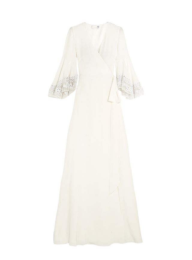 Rosemary Embroidered Tulle-trimmed Silk Crepe De Chine Gown