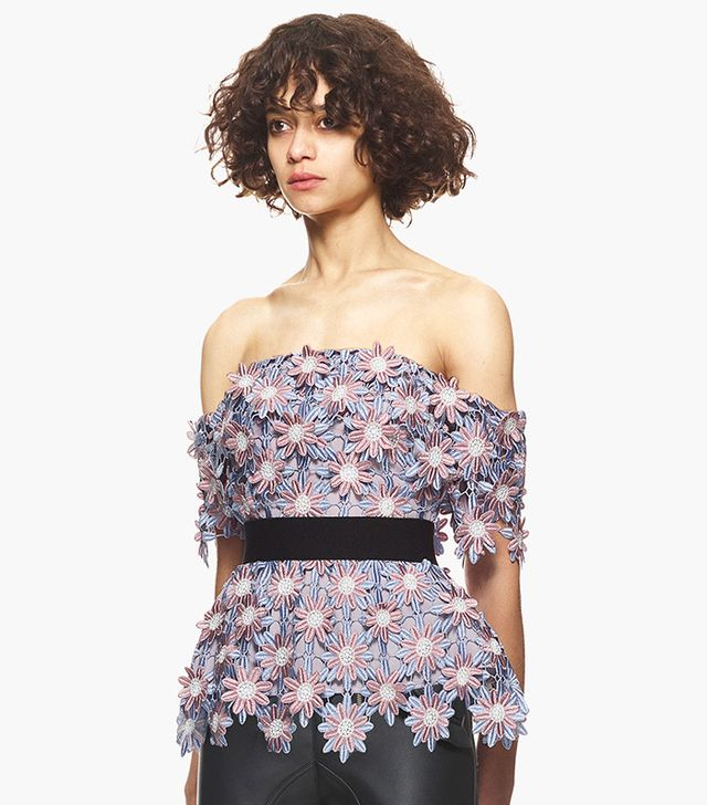 Self-Portrait 3D Floral Top in Purple