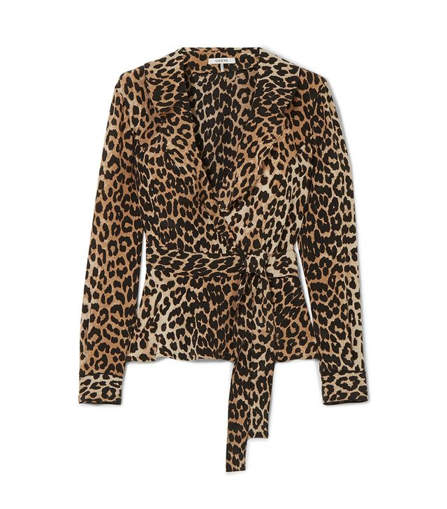 Ruffled Leopard-print Silk Wrap Top