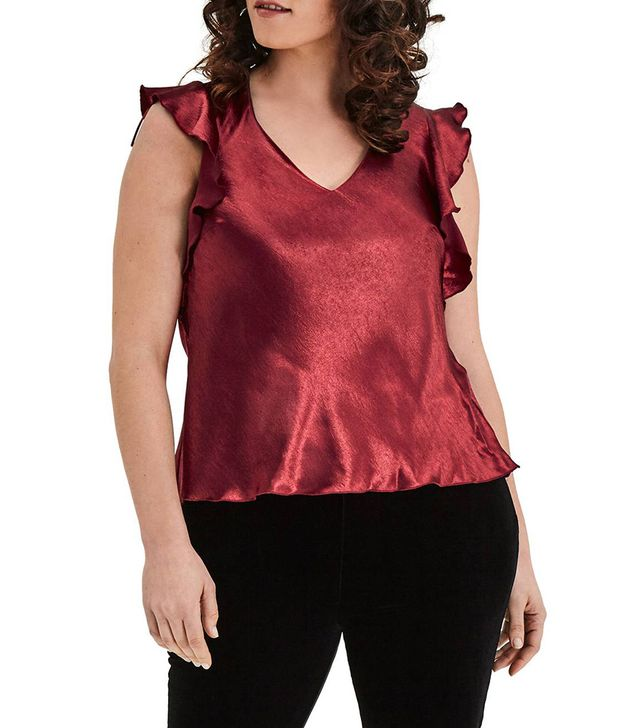 Plus Size Women's Elvi Wine Satin Top