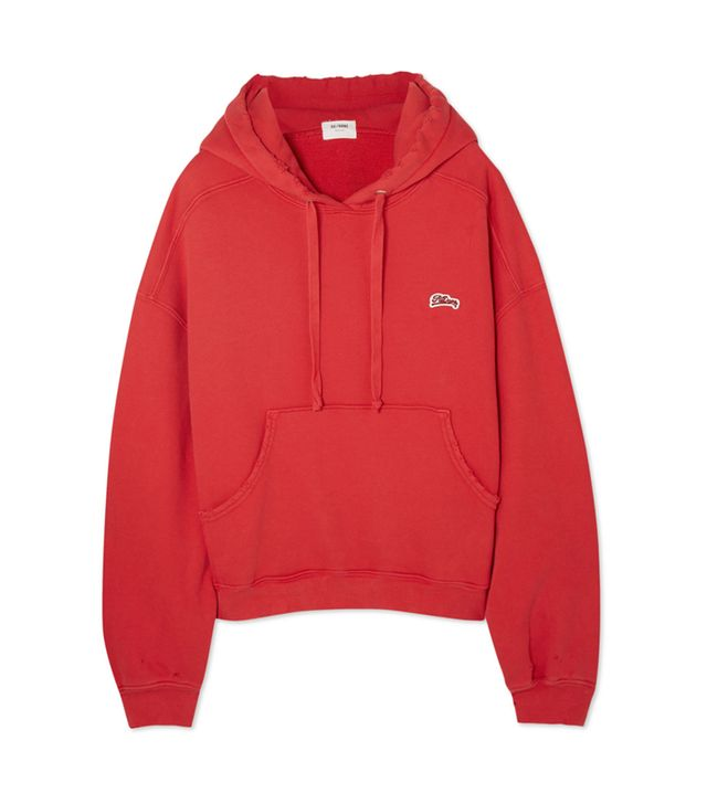 Appliquéd Distressed Stretch-cotton Jersey Hooded Sweatshirt