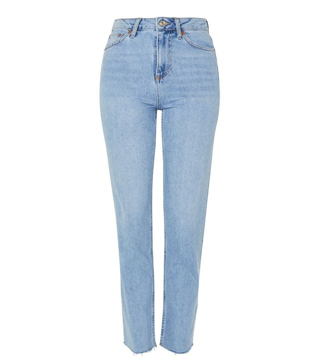 Topshop Bleach Raw Hem Straight Leg Jeans