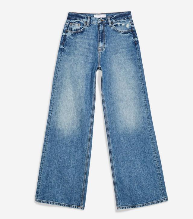 Topshop Mid Stone Slim Wide-Leg Jeans