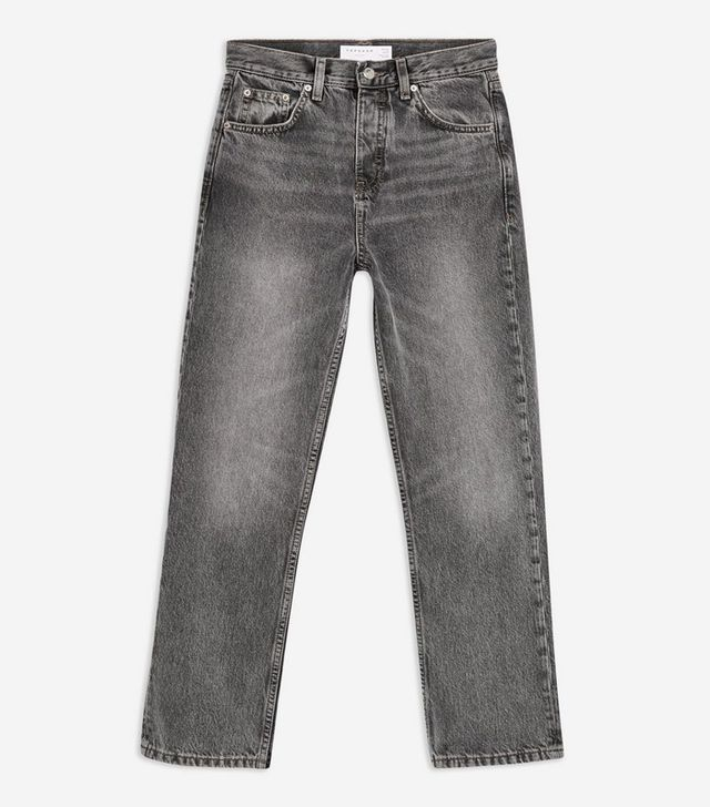 Topshop Grey Editor Cropped Jeans