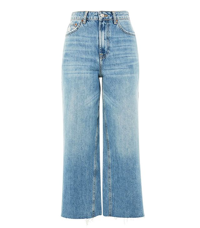 Topshop Mid Blue Cropped Wide Leg