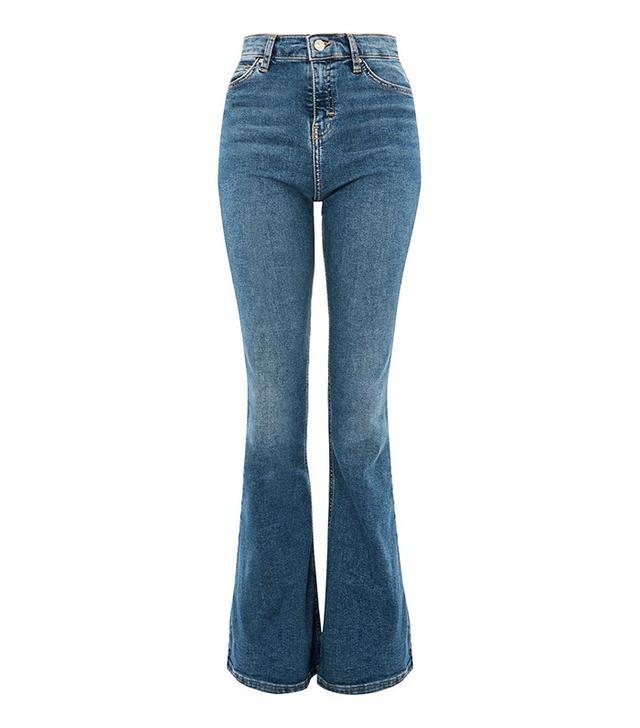 Topshop Mid Blue Flared Jamie Jeans