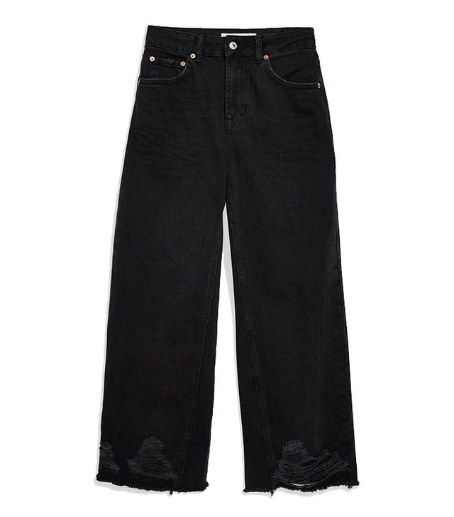 Topshop Washed Black Ladder Hem Jeans