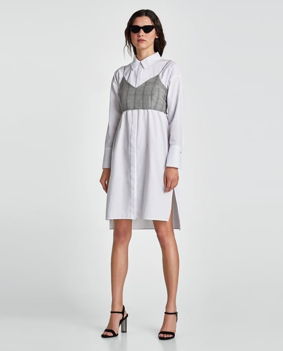 Zara Poplin Dress With Contrasting Checked Top