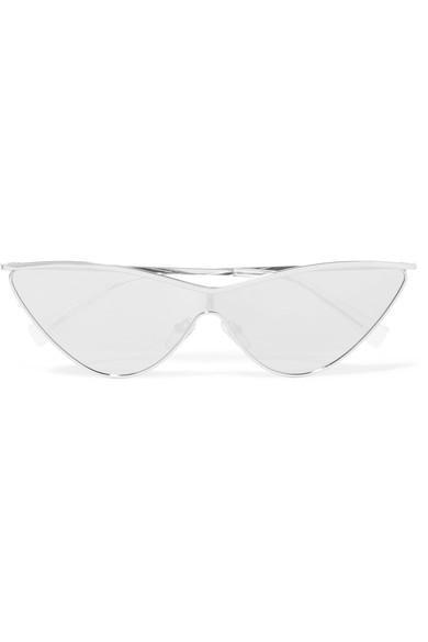 Le Specs The Fugitive Cat-Eye Silver-Tone Mirrored Sunglasses