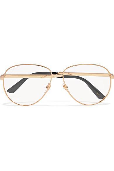 Gucci Aviator-Style Gold-Tone Optical Glasses