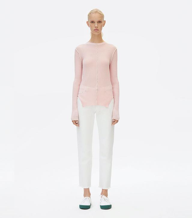 Céline Crew Neck Sweater in Ribbed Lightweight Cotton