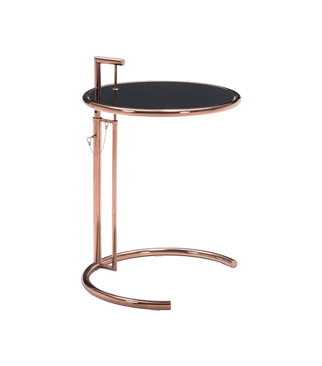 ZM Home Adjustable Glass and Rose Gold End Table