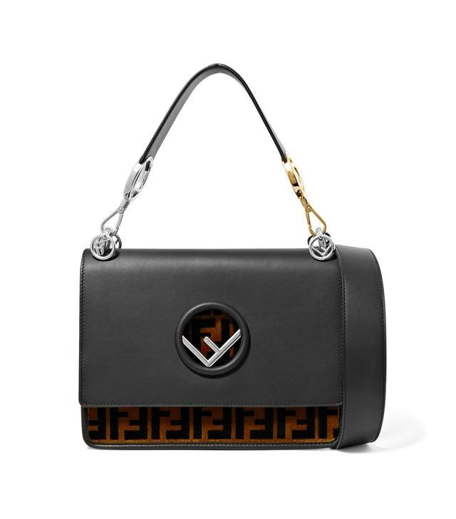 Kan I Leather And Velvet Shoulder Bag